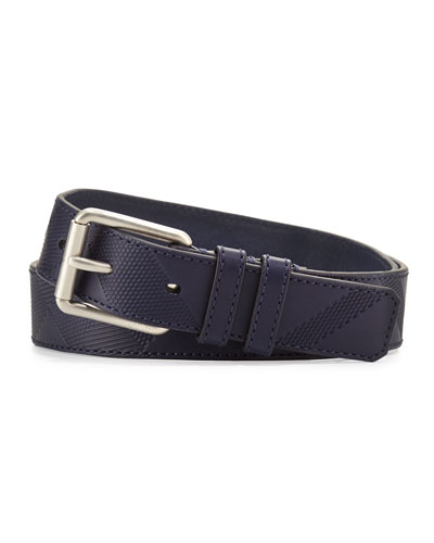 Textured Leather Utility Belt, Navy
