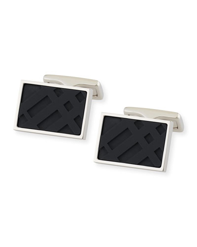 Resin Check Cuff Links, Black