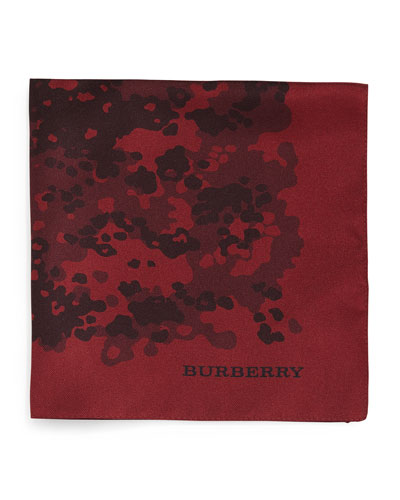 Camo-Print Silk Pocket Square, Red