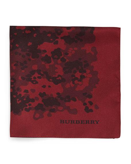 Burberry Camo-Print Silk Pocket Square, Red
