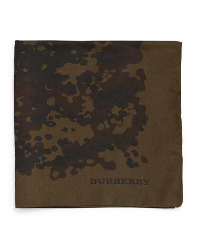 Camo-Print Silk Pocket Square, Olive