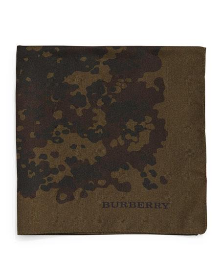 Burberry Camo-Print Silk Pocket Square, Olive