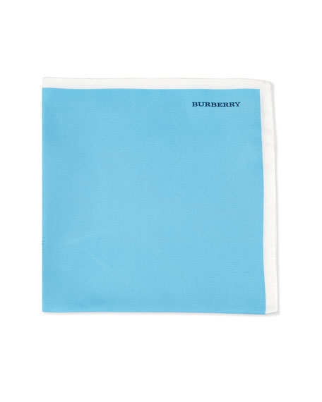 Burberry Solid Silk Pocket Square, White