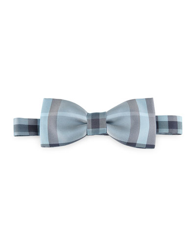 Blake Check Silk Bow Tie, Light Blue