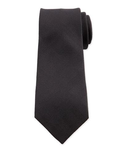 Tonal-Check Silk Tie, Black