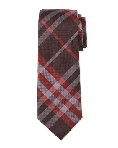 Check Silk Tie, Burgundy