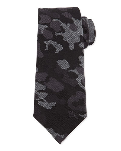 Camo-Print Wool-Blend Tie, Medium Gray