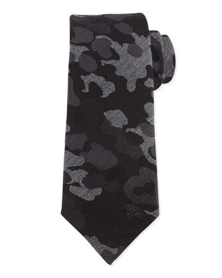 Burberry Camo-Print Wool-Blend Tie, Medium Gray