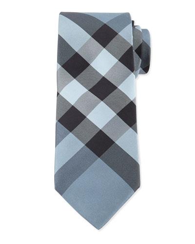 Check Silk Tie, Light Blue