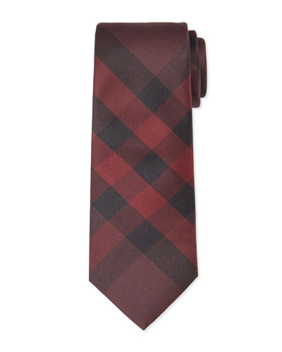 Exploded Check Silk Tie, Burgundy