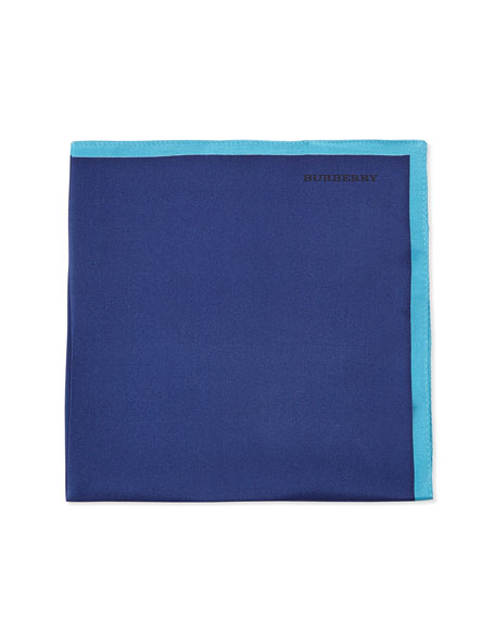 Burberry Solid Silk Pocket Square, Navy