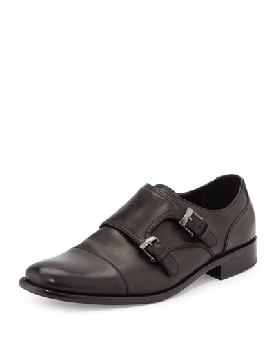 Luxe Leather Double-Monk Shoe, Black