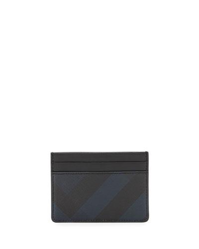 Check Hipfold Card Case, Navy/Black