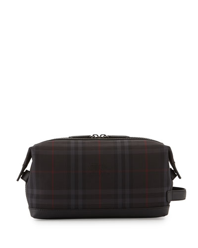 Blaine Check Toiletry Case, Charcoal/Black