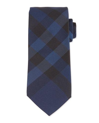 Manston Exploded-Check Silk Tie, Navy