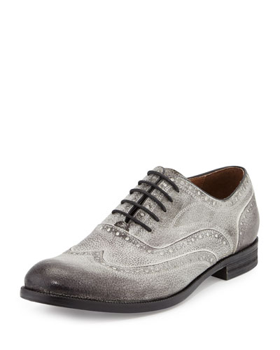 Sid Brushed-Leather Wing-Tip Shoe, Gray