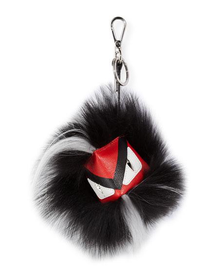 FendiBug Monster Fur Key Chain, Red/Black