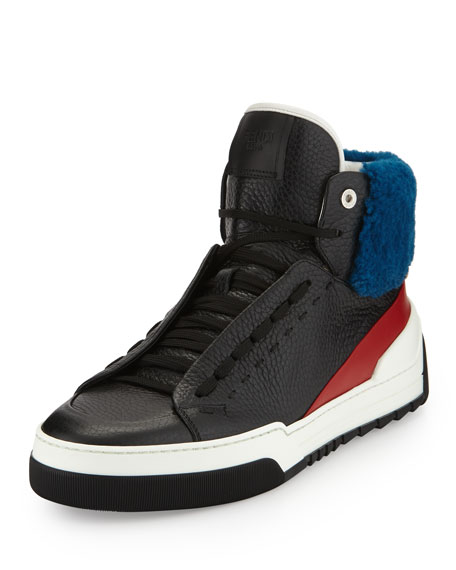 Fendi Leather High-Top Sneaker with Sheep Fur, Black/Red/Blue
