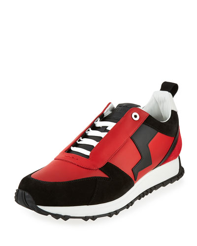 Men's Suede-Paneled Leather Trainer, Red