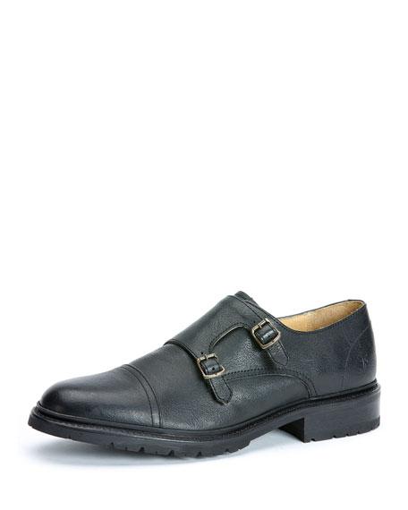 Frye James Leather Double-Monk Shoe, Black