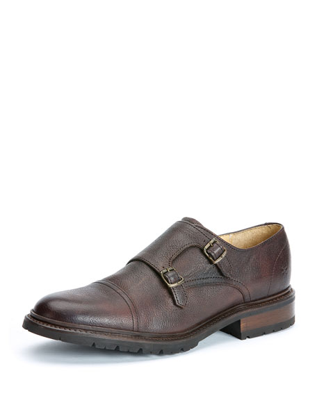 Frye James Leather Double-Monk Shoe, Dark Brown