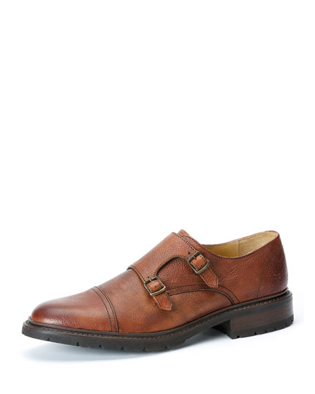 Frye James Leather Double-Monk Shoe, Brown