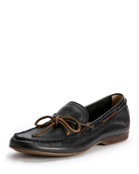 Frye Lewis Leather Tie Loafer, Black