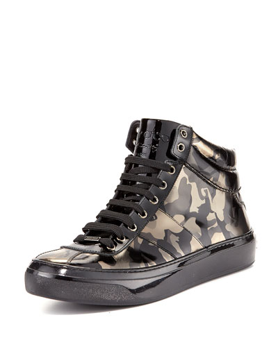 Belgravi Men's Camo-Print Leather High-Top Sneaker, Black
