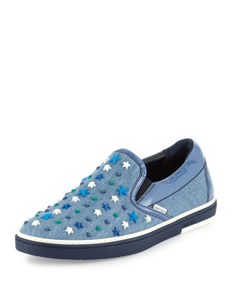 Jimmy Choo Men's Grove Star-Detail Denim Slip-On Sneakers,