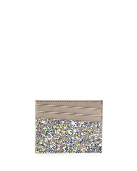 Maison Margiela Paint-Splatter Leather Card Case, Gray