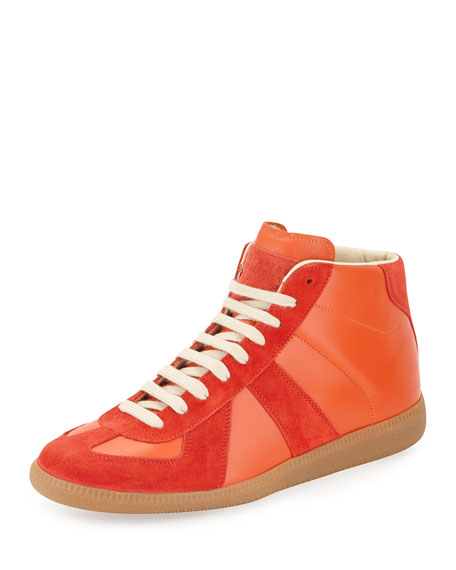 Maison Margiela Replica Mid-Top Leather Sneaker, Orange