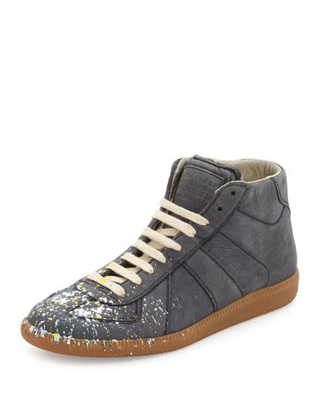Maison Margiela Replica Men's Paint Splatter Mid-Top Sneaker, Gray