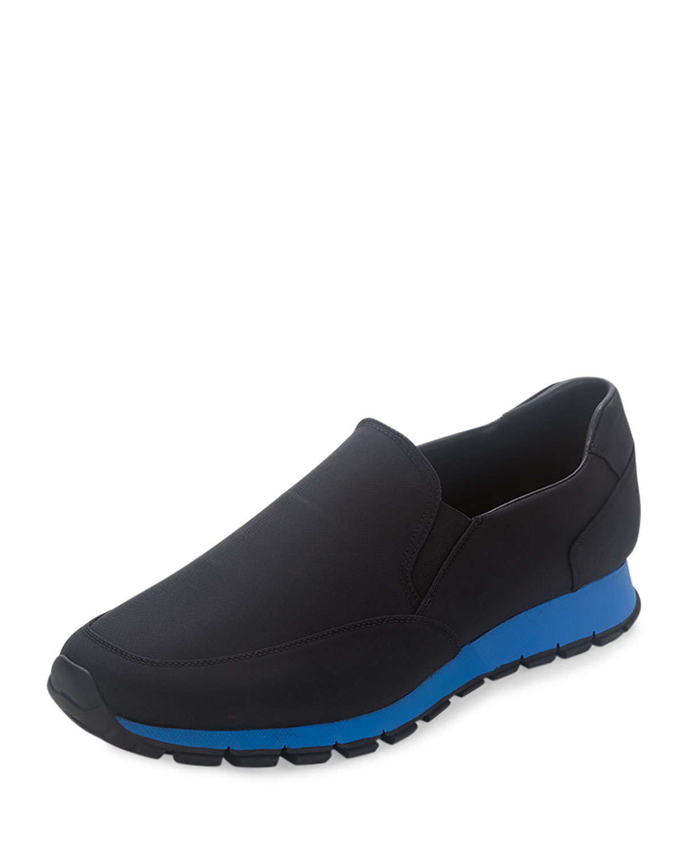 Prada Nylon Slip-On Sneaker, Black