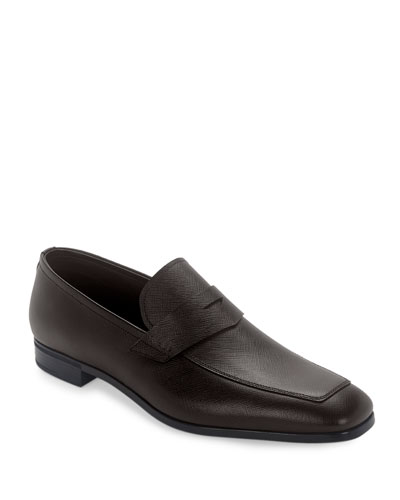 Saffiano Leather Penny Loafer, Cafe