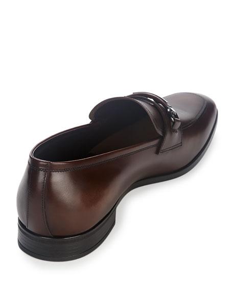 blue prada wallet mens - Prada Leather New Bit Loafer, Brown