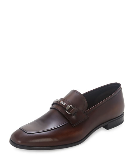 Prada Leather New Bit Loafer, Brown