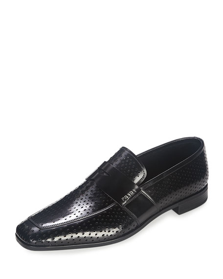 Prada Perforated Leather Penny Loafer, Black