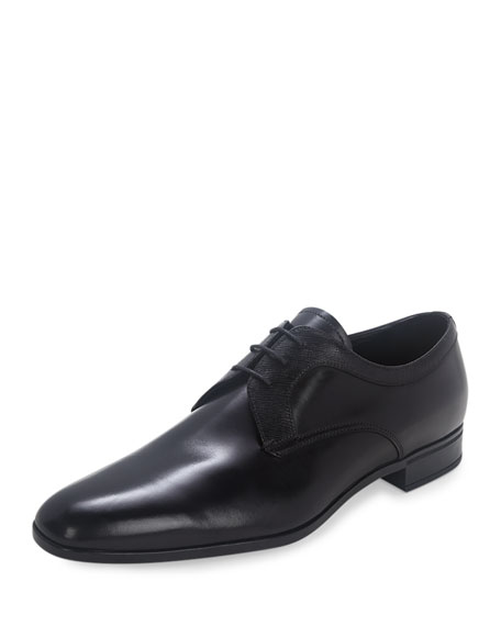 Prada Leather Lace-Up Oxford Loafer, Black