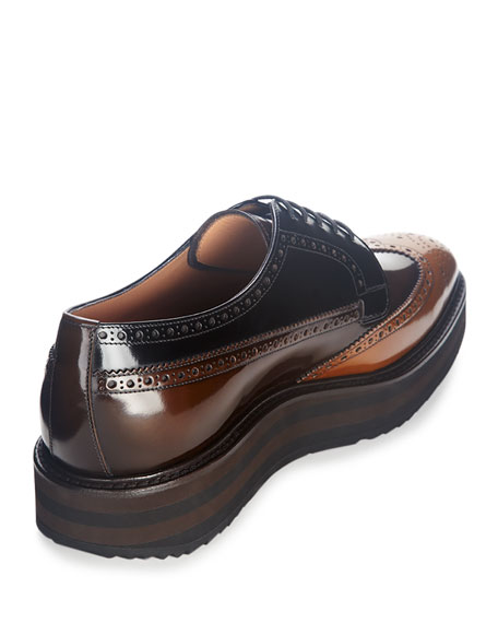 Tricolor Leather Wing-Tip Derby Shoe, Brown