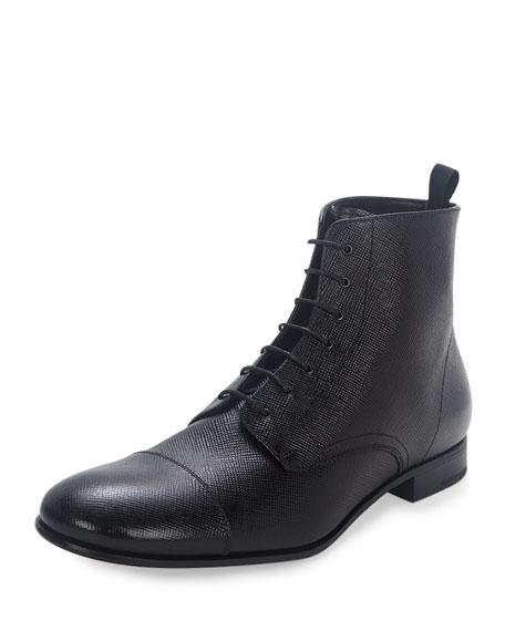 Prada Saffiano Leather Lace-Up Boot, Black