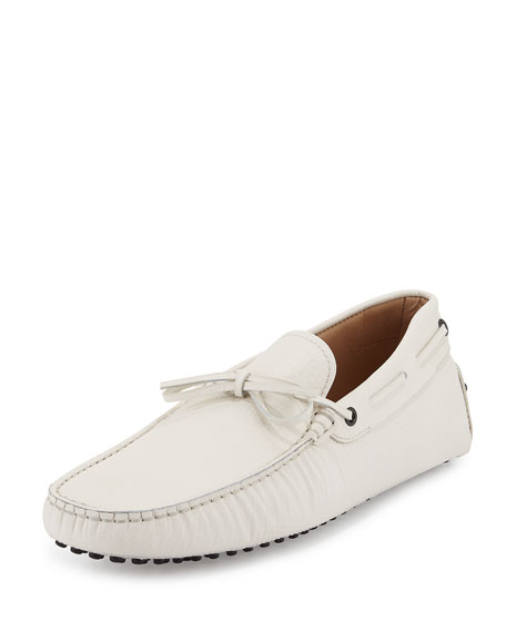 Tod's Gommini Tie Leather Driver, White