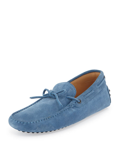 Tod's Gommini Suede Tie Driver, Light Blue