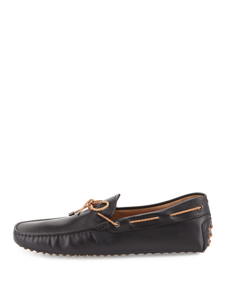 Braided Leather Driver, Black