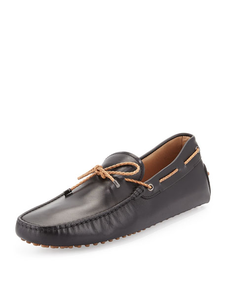 Tod's Braided Leather Driver, Black