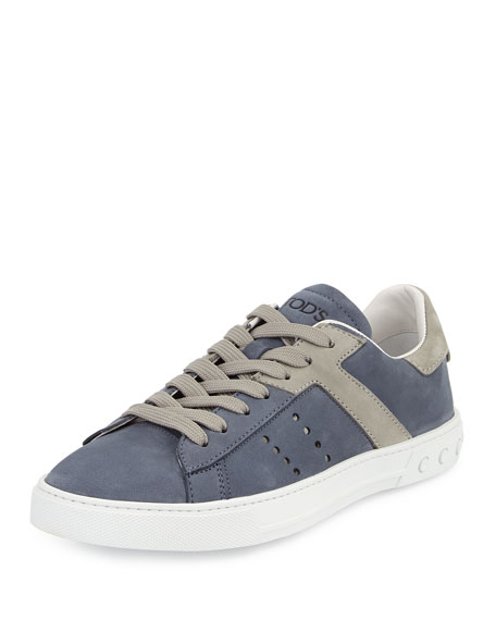Tod's Suede Lace-Up Sport Sneaker, Blue/Gray