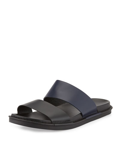 Wyatt Leather Slide Sandal, Black/Blue