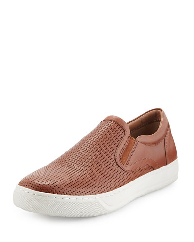 Ace Men's Perforated Leather Skate Sneaker