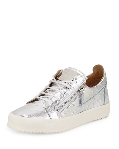 Men's Faux-Ostrich Leather Low-Top Sneaker, Silver