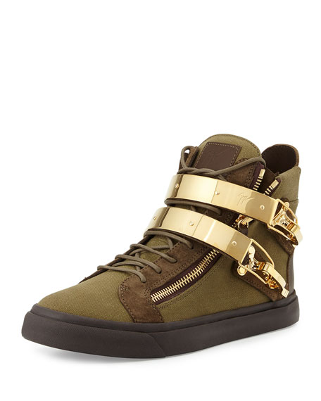 Giuseppe Zanotti Men's Military Canvas High-Top Sneaker, Olive