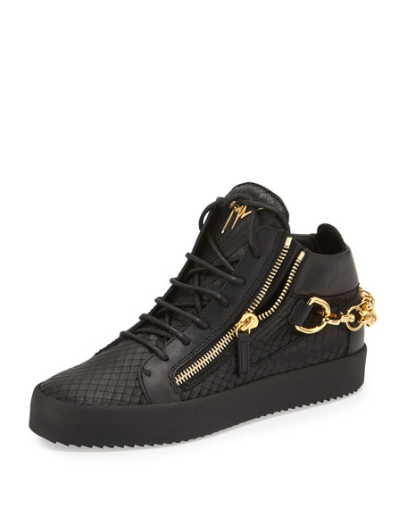Giuseppe Zanotti Embossed Python Mid-Top Leather Sneaker, Black